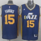 Revolution 30 Utah Jazz #15 Derrick Favors Navy Blue Stitched NBA Jersey