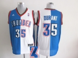 Oklahoma City Thunder #35 Kevin Durant Blue White Split Fashion Stitched NBA Autographed Jersey
