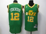 Utah Jazz #12 John Stockton Green Throwback Stitched NBA Jersey