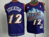 Utah Jazz #12 John Stockton Purple Throwback Stitched NBA Jersey