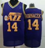 Utah Jazz #14 Jeff Hornacek Purple Throwback Stitched NBA Jersey