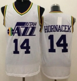 Utah Jazz #14 Jeff Hornacek White Throwback Stitched NBA Jersey