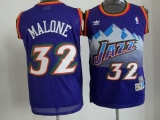 Utah Jazz #32 Karl Malone Purple Throwback Stitched NBA Jersey