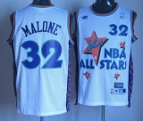 Utah Jazz #32 Karl Malone White 1995 All Star Throwback Stitched NBA Jersey