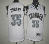 Oklahoma City Thunder #35 Kevin Durant White on White Stitched NBA Jersey