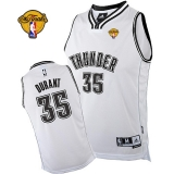 Oklahoma City Thunder #35 Kevin Durant White on White With Finals Patch Stitched NBA Jersey