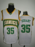 Oklahoma City Thunder #35 Kevin Durant White Seattle SuperSonics Style Stitched NBA Jersey
