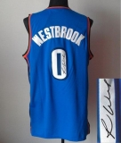 Revolution 30 Autographed Oklahoma City Thunder #0 Russell Westbrook Blue Stitched NBA Jersey