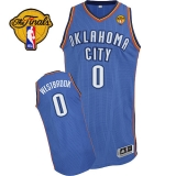 Revolution 30 Oklahoma City Thunder #0 Russell Westbrook Blue Finals Patch Stitched NBA Jersey