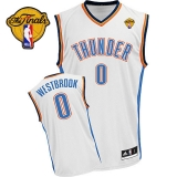 Revolution 30 Oklahoma City Thunder #0 Russell Westbrook White Finals Patch Stitched NBA Jersey
