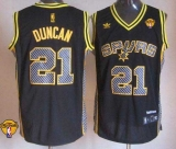 San Antonio Spurs #21 Tim Duncan Black Electricity Fashion Finals Patch Stitched NBA Jersey