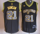 San Antonio Spurs #21 Tim Duncan Black Electricity Fashion Stitched NBA Jersey