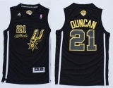 San Antonio Spurs #21 Tim Duncan Black Gold No Champions Stitched NBA Jersey