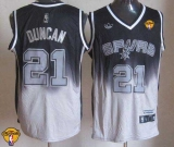 San Antonio Spurs #21 Tim Duncan Black Grey Fadeaway Fashion Finals Patch Stitched NBA Jersey