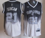 San Antonio Spurs #21 Tim Duncan Black Grey Fadeaway Fashion Stitched NBA Jersey