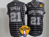 San Antonio Spurs #21 Tim Duncan Black Grey Groove Finals Patch Stitched NBA Jersey
