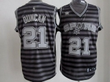 San Antonio Spurs #21 Tim Duncan Black Grey Groove Stitched NBA Jersey