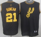 San Antonio Spurs #21 Tim Duncan Black Precious Metals Fashion Stitched NBA Jersey