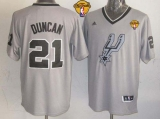 San Antonio Spurs #21 Tim Duncan Grey 2013 Christmas Day Swingman Finals Patch Stitched NBA Jersey