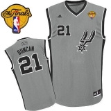 San Antonio Spurs #21 Tim Duncan Grey Alternate Finals Patch Stitched NBA Jersey