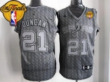 San Antonio Spurs #21 Tim Duncan Grey Static Fashion Finals Patch Stitched NBA Jersey