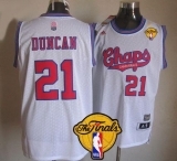 San Antonio Spurs #21 Tim Duncan White ABA Hardwood Classic Finals Patch Stitched NBA Jersey