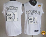 San Antonio Spurs #21 Tim Duncan White Winter On-Court Finals Patch Stitched NBA Jersey