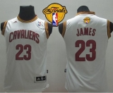 Revolution 30 Cleveland Cavaliers #23 LeBron James White The Finals Patch Stitched Youth NBA Jersey