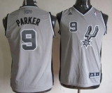 San Antonio Spurs #9 Tony Parker Grey Youth Stitched NBA Jersey