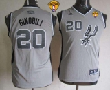 San Antonio Spurs #20 Manu Ginobili Grey With Finals Patch Youth Stitched NBA Jersey