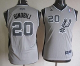 San Antonio Spurs #20 Manu Ginobili Grey Youth Stitched NBA Jersey