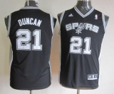 San Antonio Spurs #21 Tim Duncan Black Youth Stitched NBA Jersey