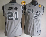 San Antonio Spurs #21 Tim Duncan Grey With Finals Patch Youth Stitched NBA Jersey