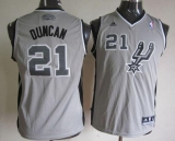 San Antonio Spurs #21 Tim Duncan Grey Youth Stitched NBA Jersey