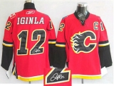 Autographed Calgary Flames #12 Jarome Iginla Stitched Red NHL Jersey