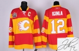 Autographed Calgary Flames #12 Jarome Iginla Stitched Red with 30TH Patch NHL Jersey