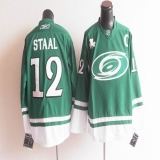 Carolina Hurricanes St Patty\'s Day #12 Eric Staal Green Stitched NHL Jersey