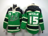 Anaheim Ducks #15 Ryan Getzlaf Green St Patrick\'s Day McNary Lace Hoodie Stitched NHL Jersey