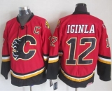 Calgary Flames #12 Jarome Iginla Red Black CCM Throwback Stitched NHL Jersey
