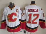 Calgary Flames #12 Jarome Iginla White Black CCM Throwback Stitched NHL Jersey