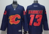 Calgary Flames #13 Johnny Gaudreau Navy Blue Denim Stitched NHL Jersey