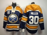Buffalo Sabres #30 Ryan Miller Navy Blue Sawyer Hooded Sweatshirt Stitched NHL Jersey