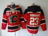 Calgary Flames #23 Sean Monahan Red Sawyer Hooded Sweatshirt Stitched NHL Jersey
