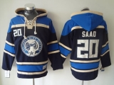 Columbus Blue Jackets #20 Brandon Saad Navy Blue Sawyer Hooded Sweatshirt Stitched NHL Jersey