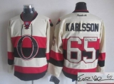 Autographed NHL Ottawa Senators #65 Erik Karlsson White New Third Men NHL Stitched Jersey