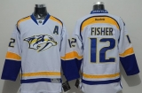 Nashville Predators #12 Mike Fisher White Road Stitched NHL Jersey
