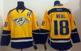 Nashville Predators #18 James Neal Yellow Home Stitched NHL Jersey