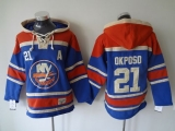 New York Islanders #21 Kyle Okposo Baby Blue Sawyer Hooded Sweatshirt Stitched NHL Jersey