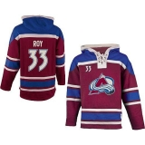Colorado Avalanche #33 Patrick Roy Red Sawyer Hooded Sweatshirt Stitched NHL Jersey