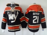 New York Islanders #21 Kyle Okposo Dark Blue Sawyer Hooded Sweatshirt Stitched NHL Jersey